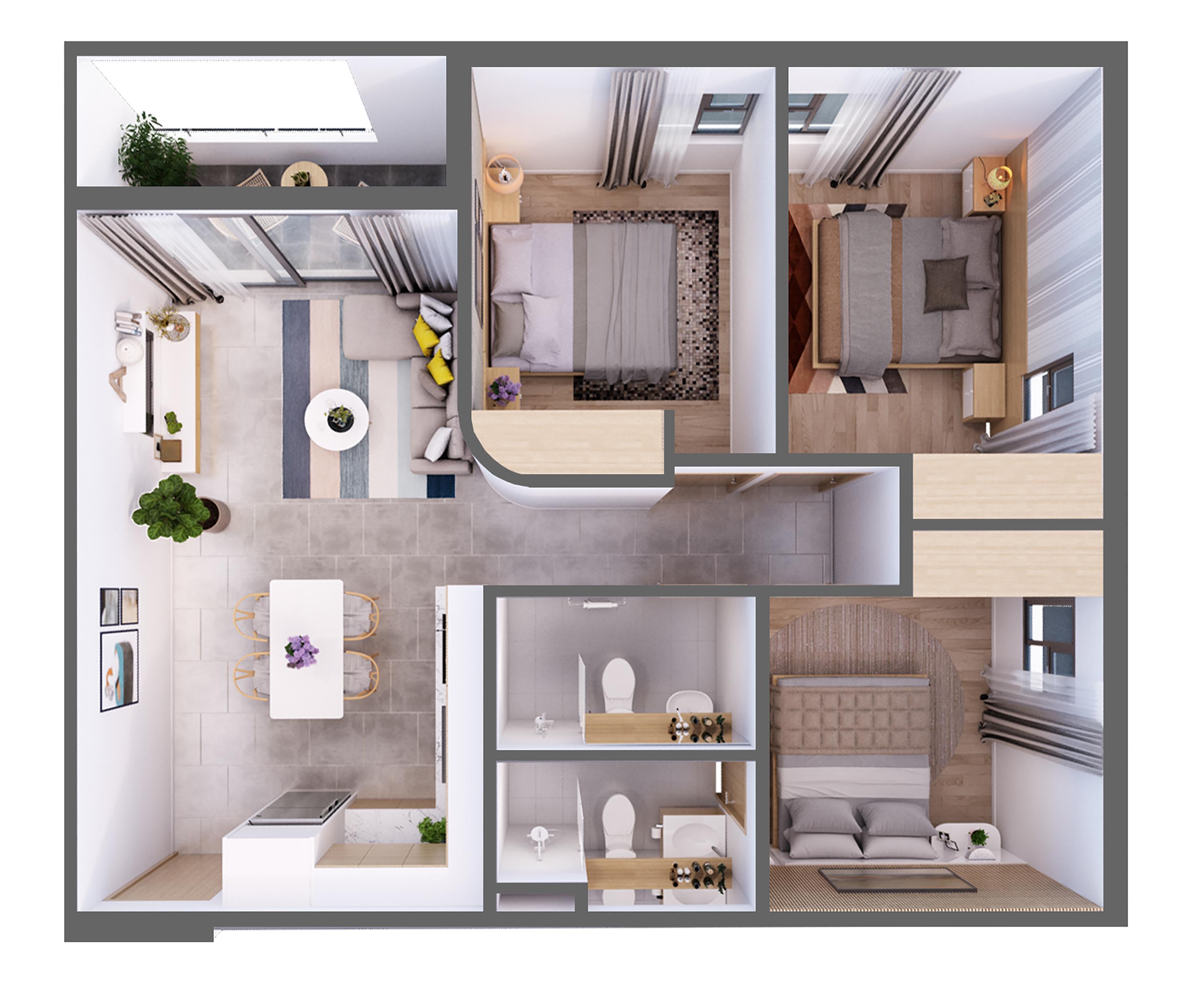 căn hộ Aurora Residences Loại C,3 Phòng Ngủ
